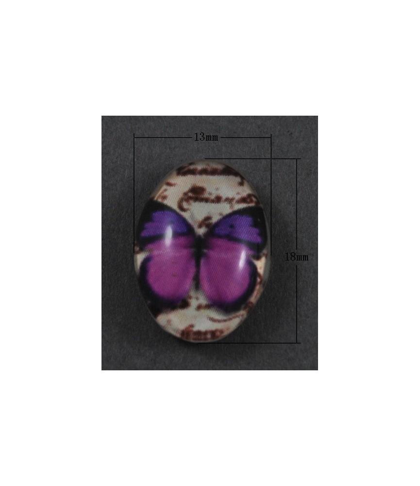 Cabuchón cristal mariposa morada 18x13mm