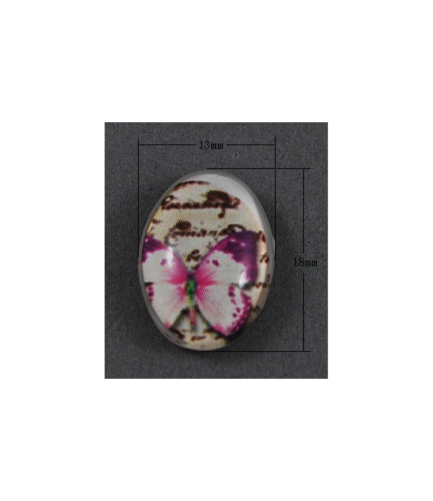 Cabuchon cristal mariposa lila 18x13mm
