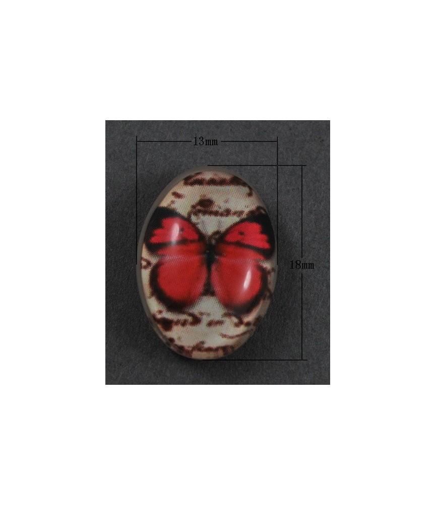 Cabuchon cristal mariposa fucsia 18x13mm