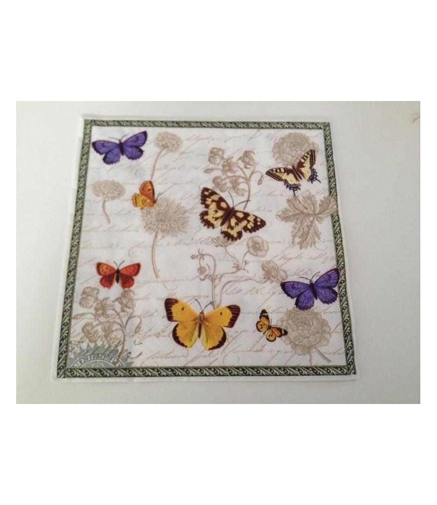 Servilleta vintage butterflies 33x33 cm