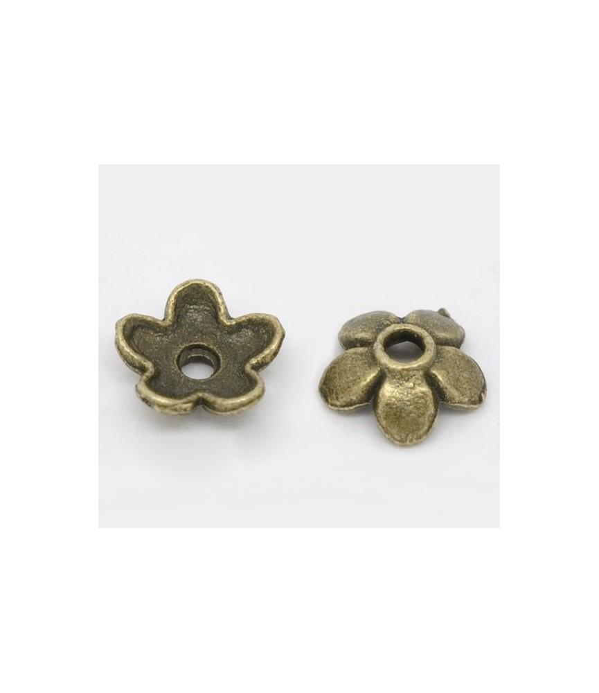 Pack de 20 casquilla de flor en bronce