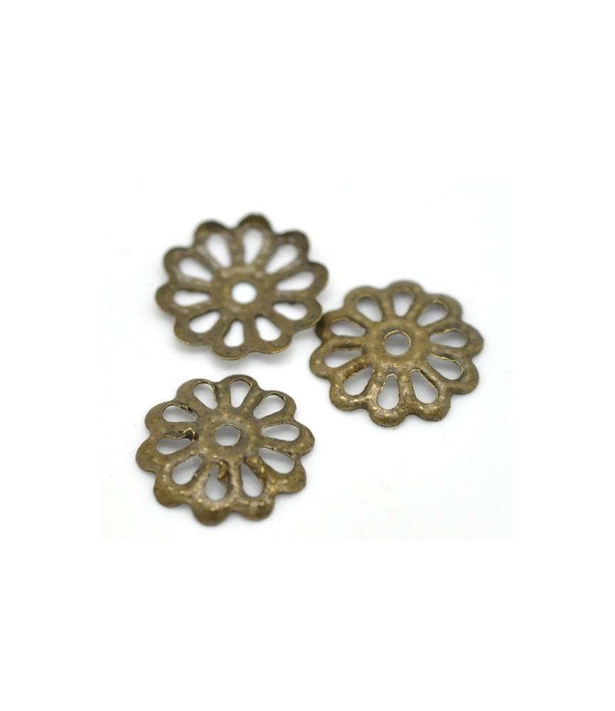 Pack 25 casquillas flor bronce 8 mm