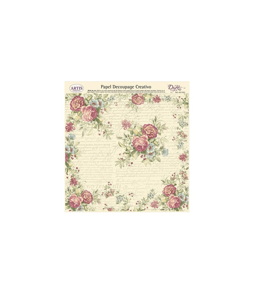 Papel decorativo para pegar mod rosas y letras