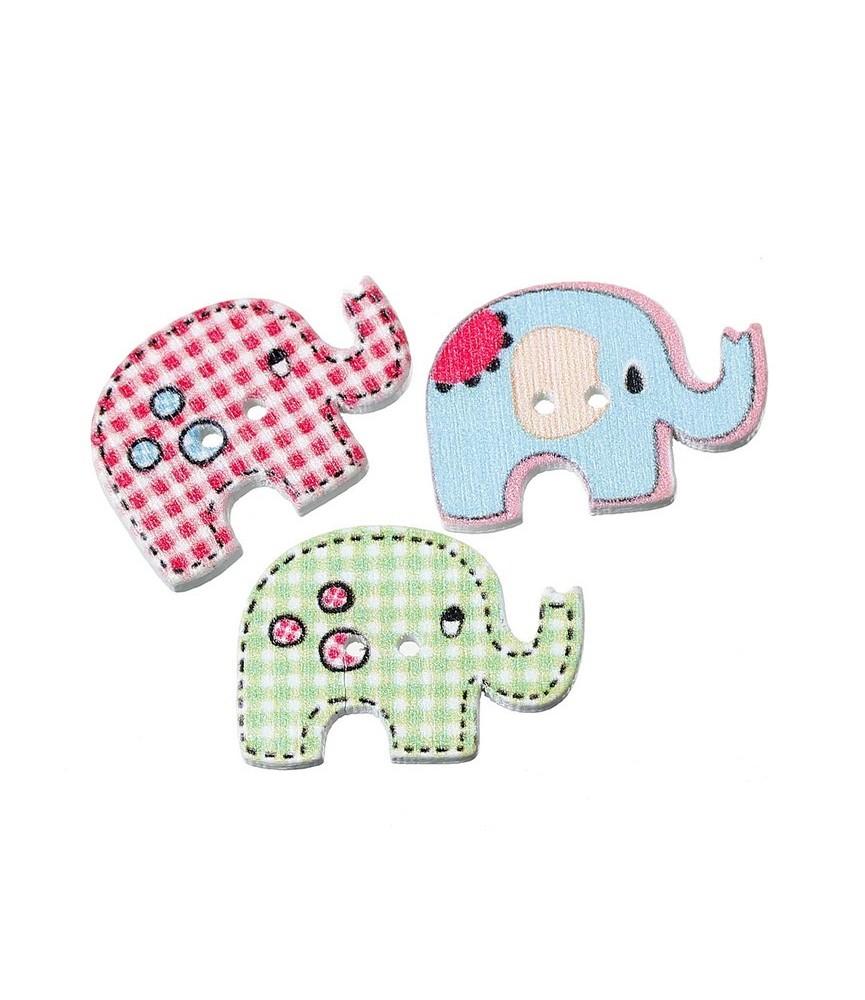 Botón de madera elefante