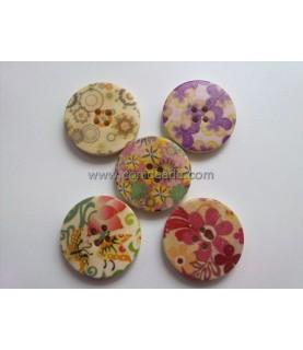 Pack de 5 botones dibujos florales mod1