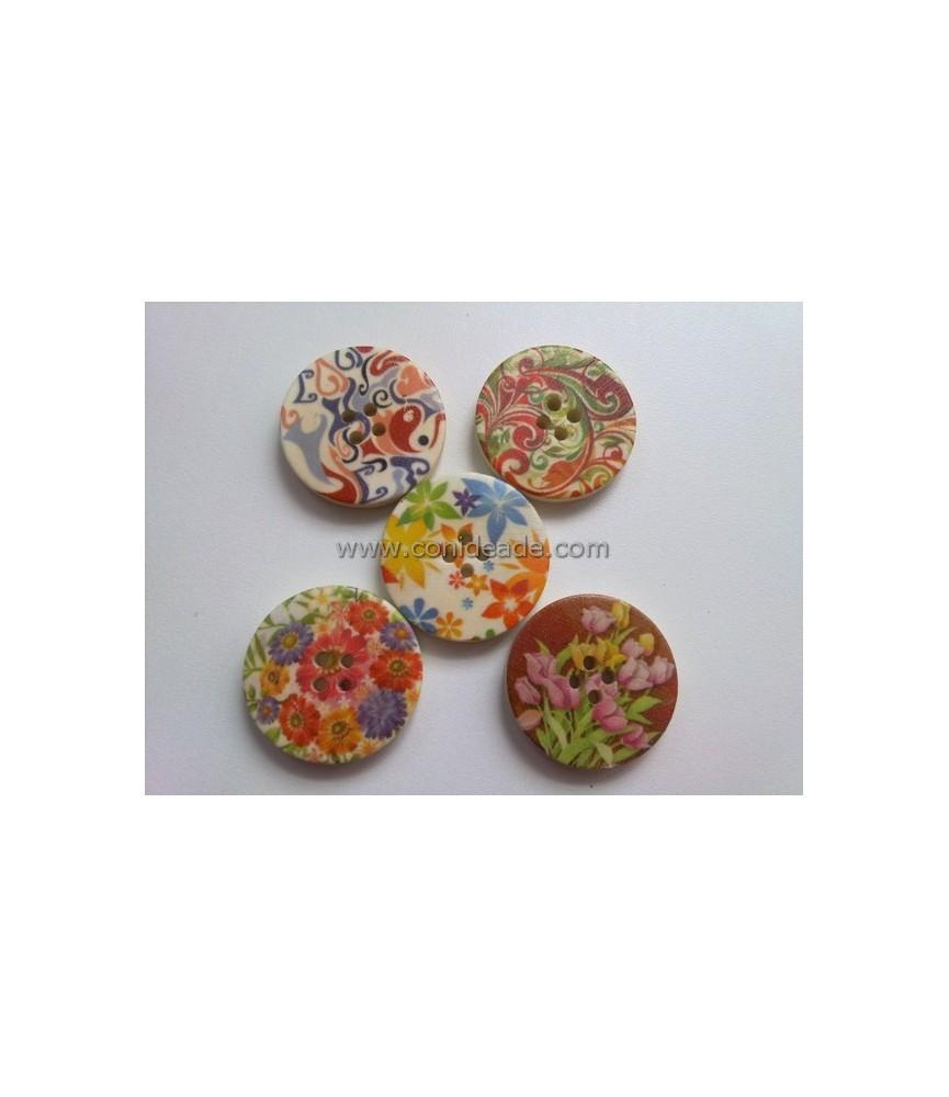 Pack de 5 botones dibujos florales mod2
