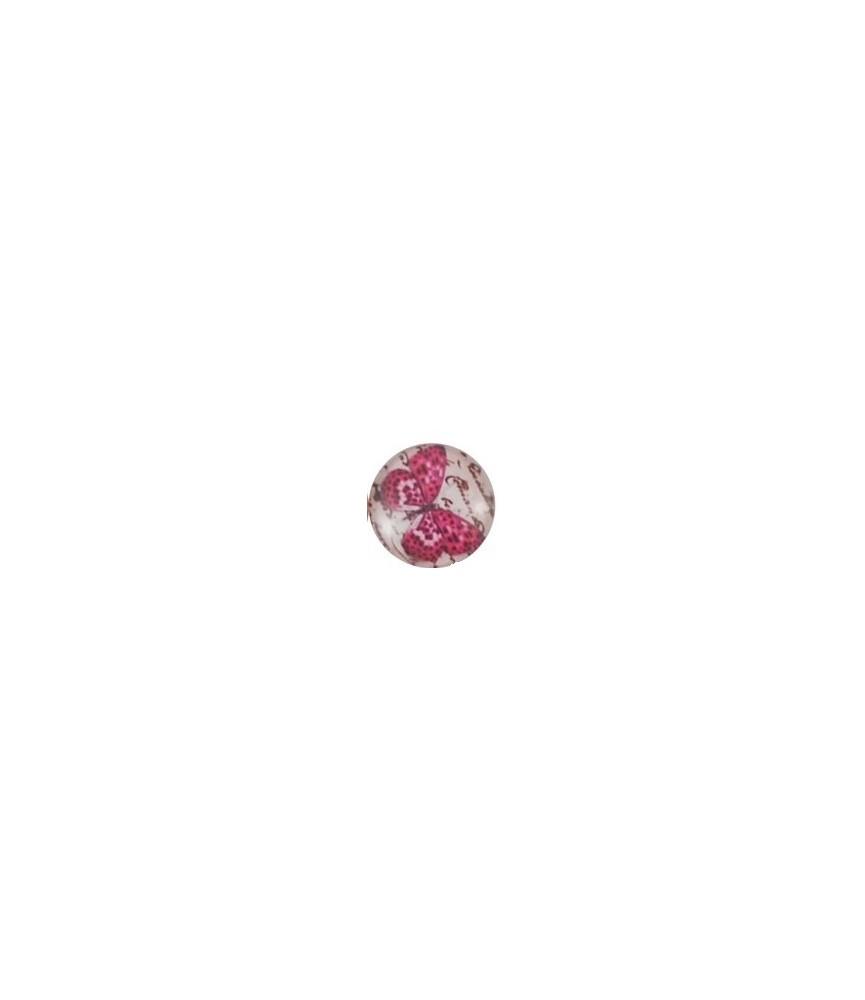 Cabuchon de cristal mariposa rosa 25mm