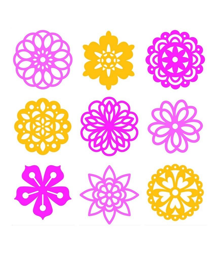 Pack mini siluetas de fieltro flores