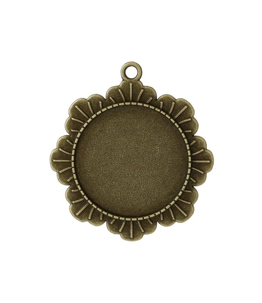 Base de camafeo marco flor de 30 mm