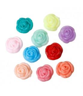 Pack 10 Cuentas acrilicas de flores multicolor