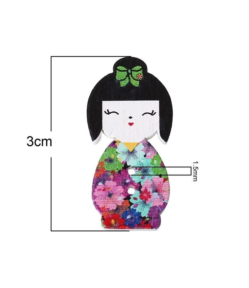 Botón de madera geisha