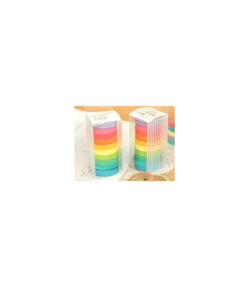 Pack 10 rollos de washi tape de 7,5 mm
