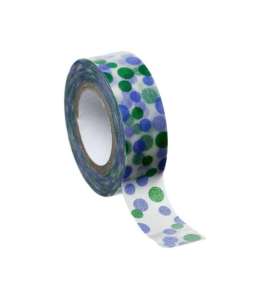 1 rollo de washi tape topos verdes y morados