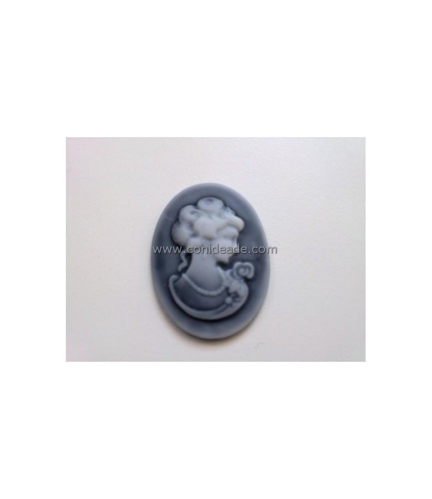 Cabuchon de resina busto 40x30mm gris
