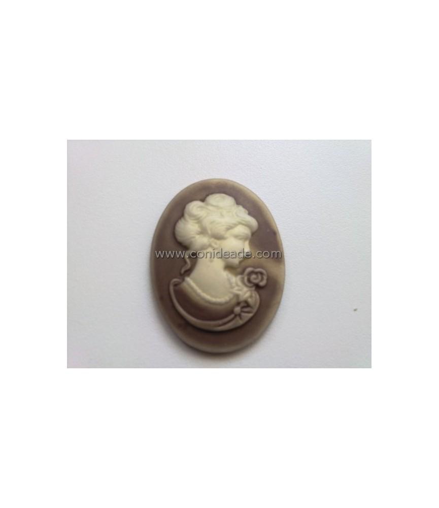 Cabuchon de resina busto 40x30mm beige