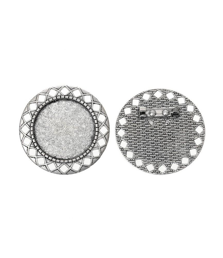 Base de camafeo con broche mod rombos plata