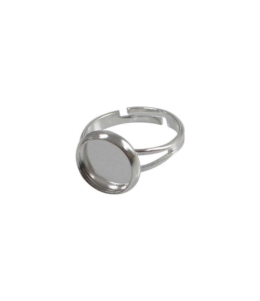 Anillo ajustable con base de 12 mm plata