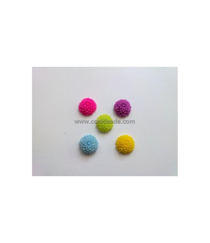 Pack de 5 flores de resina de 10x5mm colores acidos