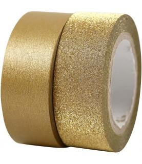 2 rollos de washi tape dorado y purpurina