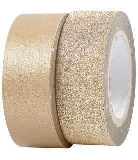 2 rollos de washi tape en bronce y purpurina