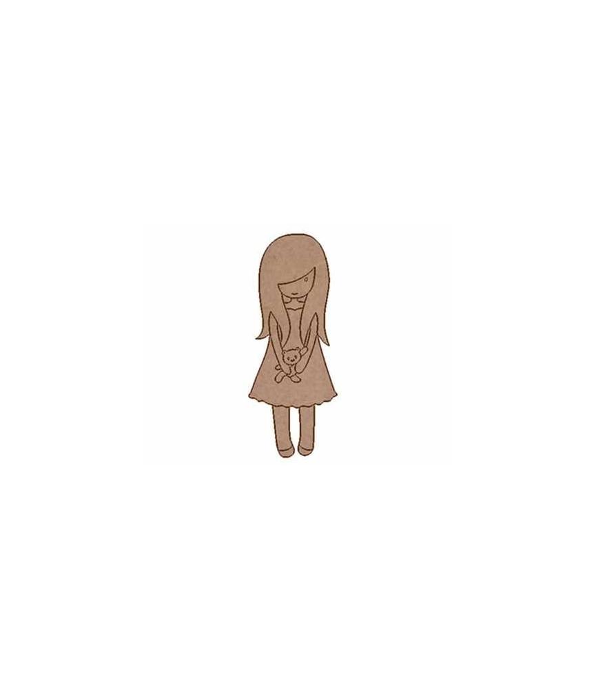 Silueta de madera muñeca osito
