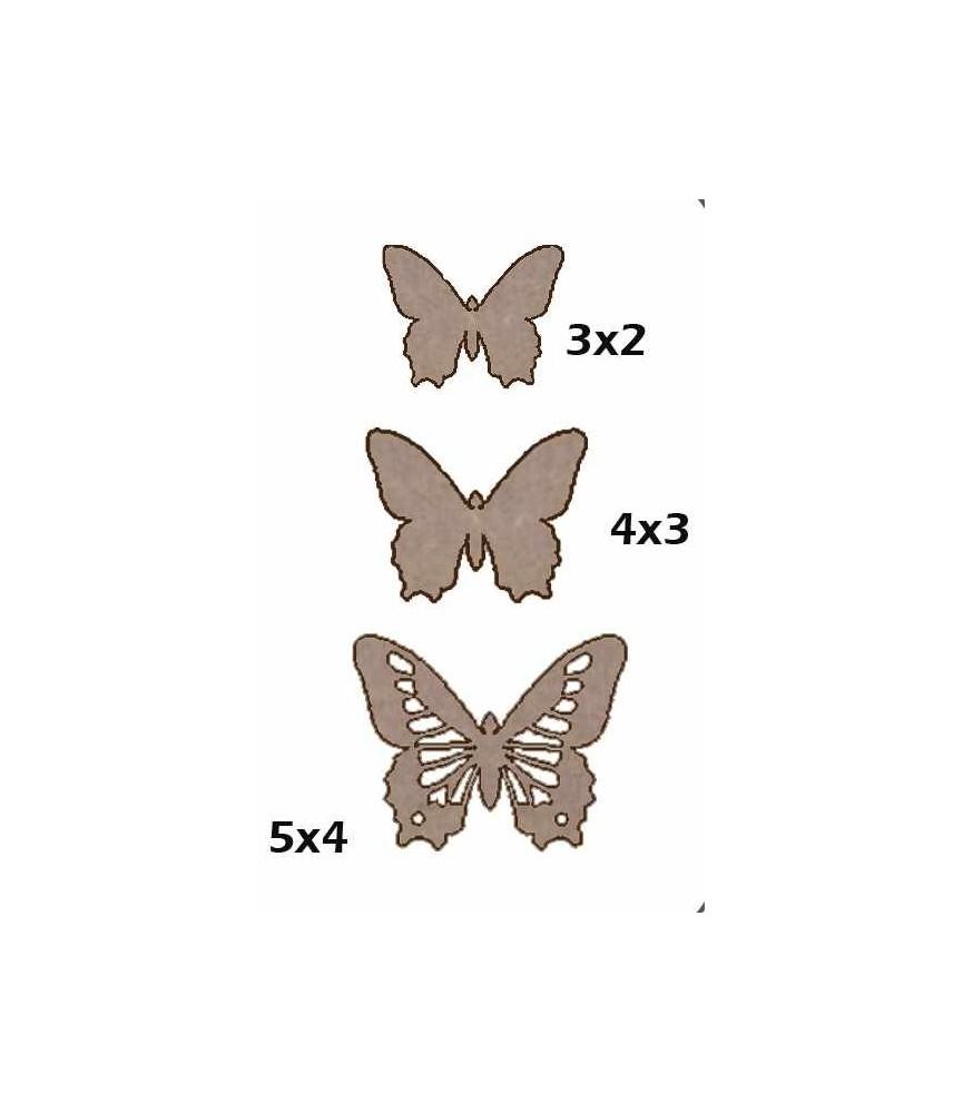 Set de 3 mariposas de cartón
