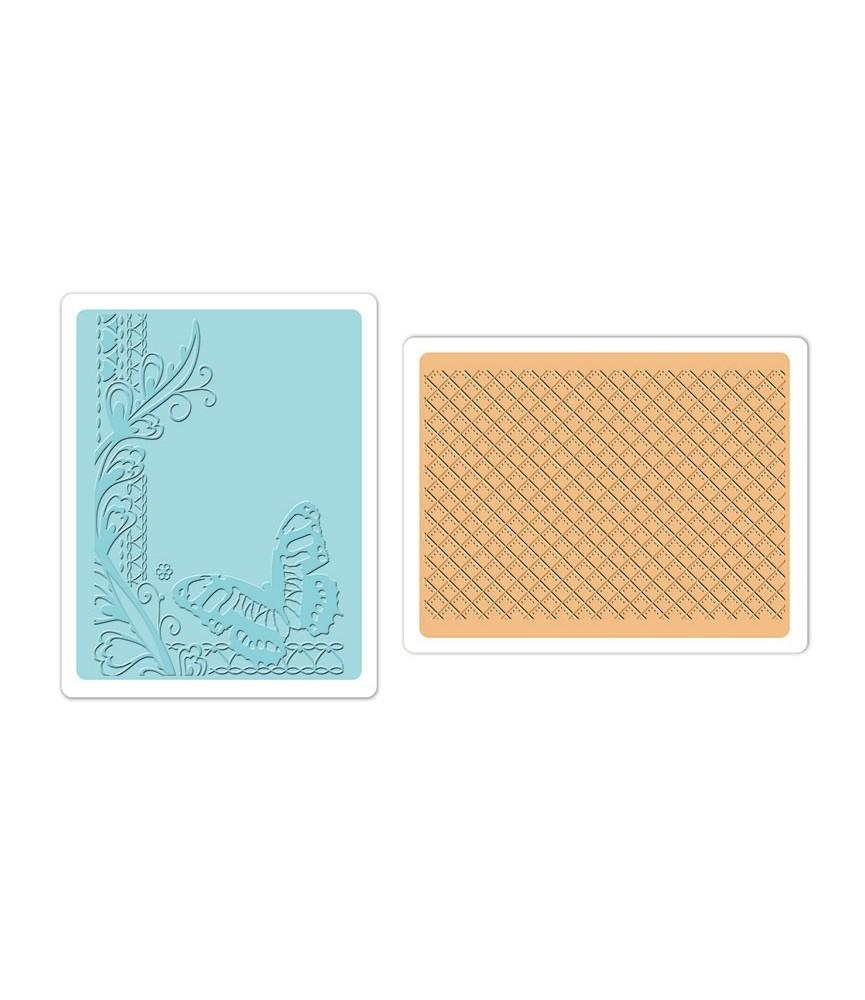 Carpetas de textura sizzix- mariposa y enrejado
