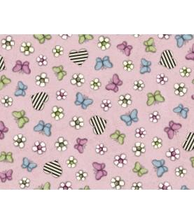 Imagén: Tela Gorjuss mariposas rosa