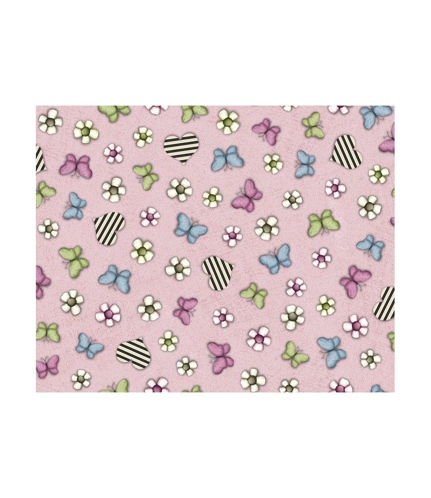 Tela Gorjuss mariposas rosa