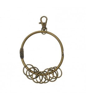 Comprar Anilla grande con mosqueton y 10 anillas para llaves de Conideade