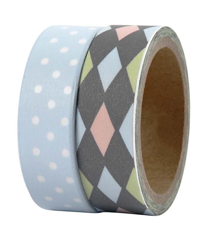 Pack 2 rollos de washi tape rombos y topos