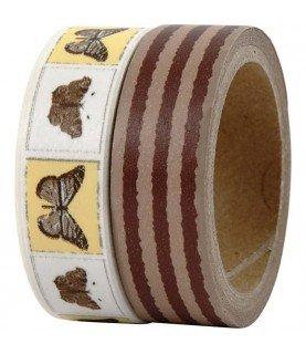 Comprar Pack 2 rollos de washi tape mariposas y rayas de Conideade