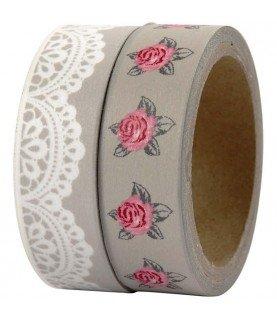 Comprar Pack 2 rollos de washi tape rosas y blondas de Conideade