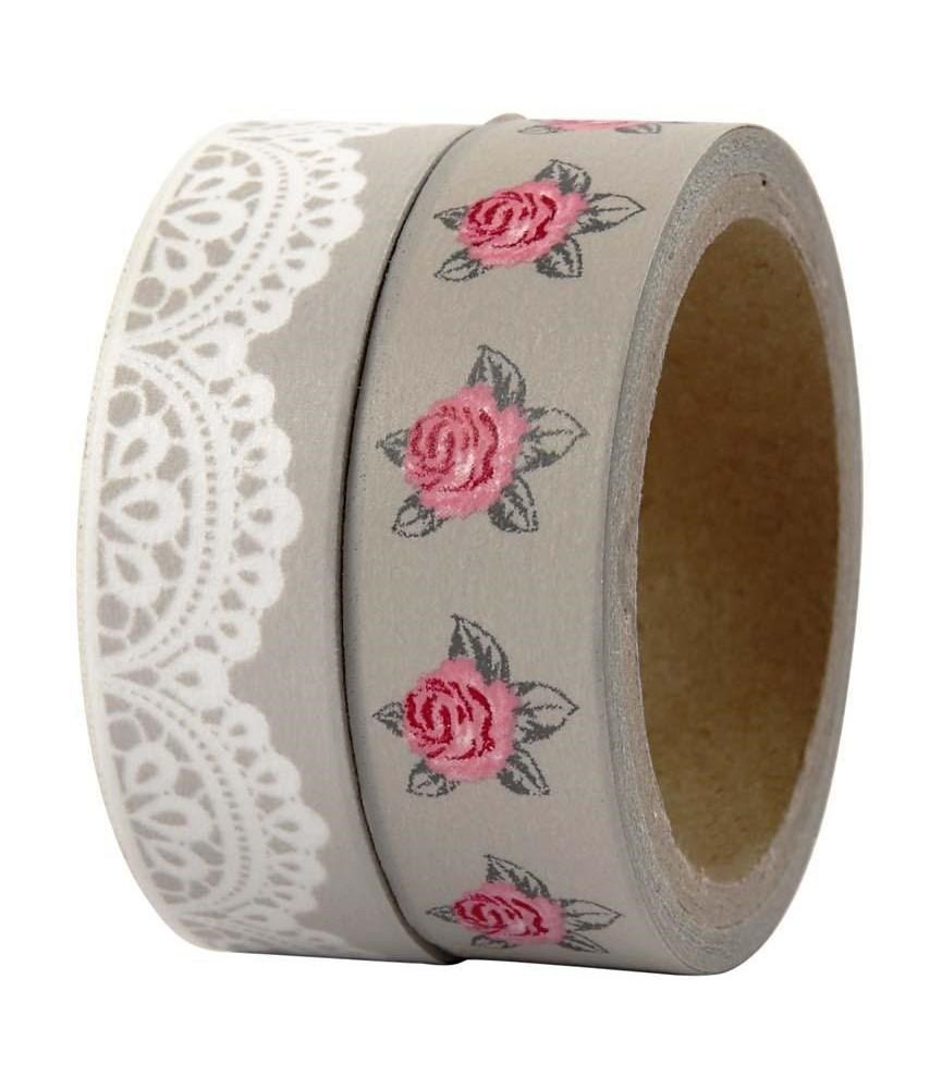 Pack 2 rollos de washi tape rosas y blondas