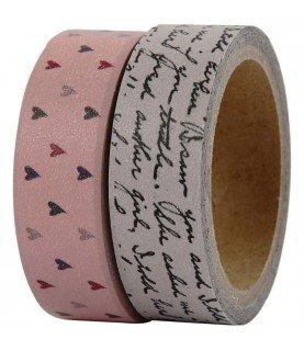 Comprar Pack 2 rollos de washi tape corazones y letras de Conideade