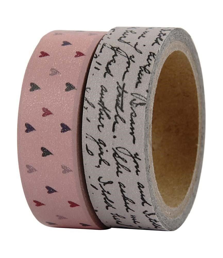 Pack 2 rollos de washi tape corazones y letras