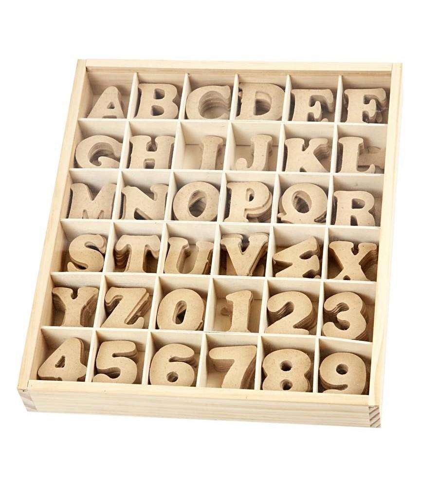 Pack 36 letras y números de madera 4 cm