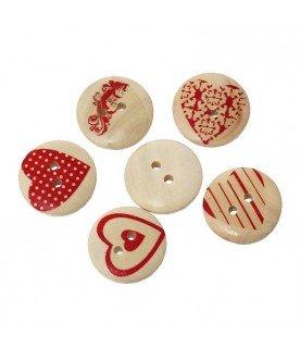 Comprar Pack 6 botones de madera con tonos rojos de Conideade
