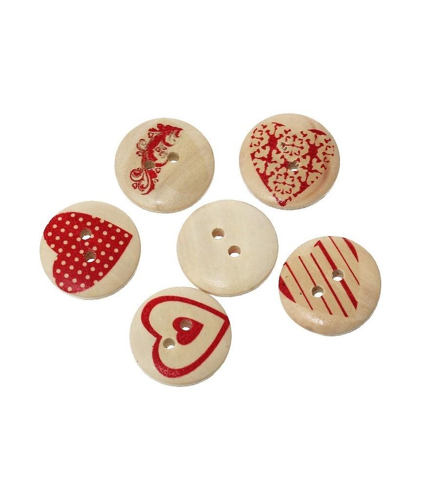 Pack 6 botones de madera con tonos rojos