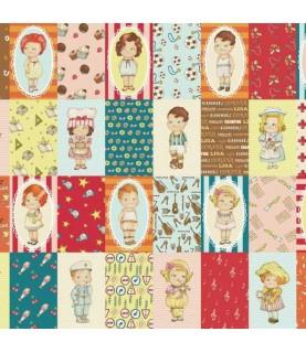 Comprar Tela pach muñeca de papel oficios cuadros 15 x 1.10 cm de Conideade