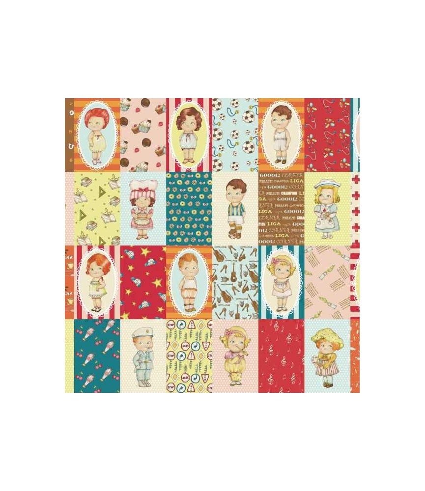Tela pach muñeca de papel oficios cuadros 15 x 1.10 cm