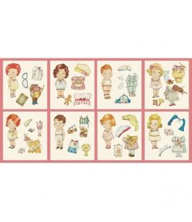 Tela muñecas de papel oficios cuadros 30 X 1.10 cm