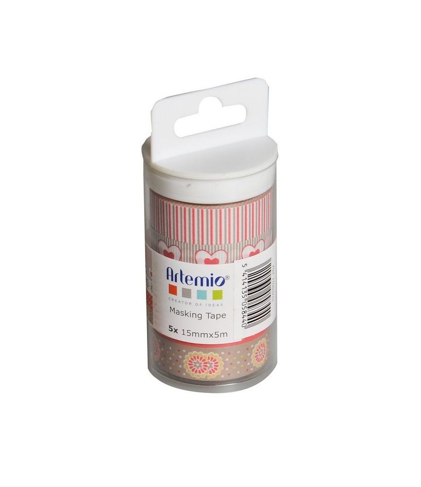 Pack 5 rollos de washi tape mod Love