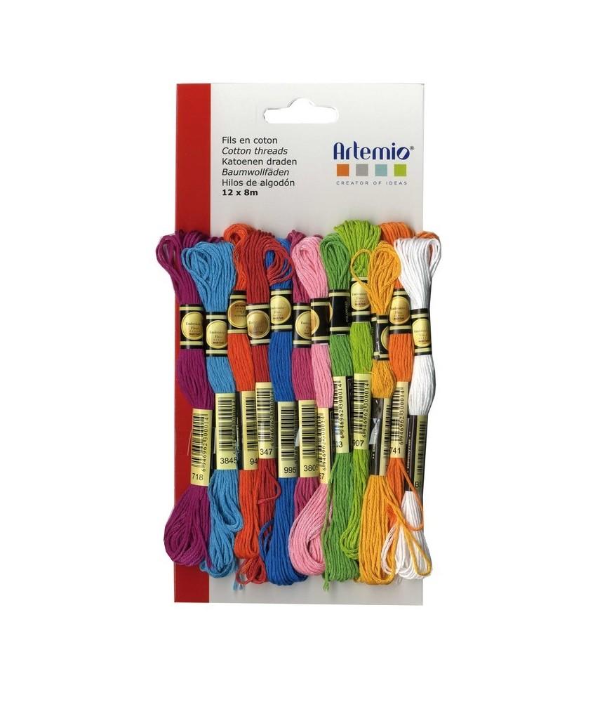 Pack 12 madejas de hilo de algodón colores vivos