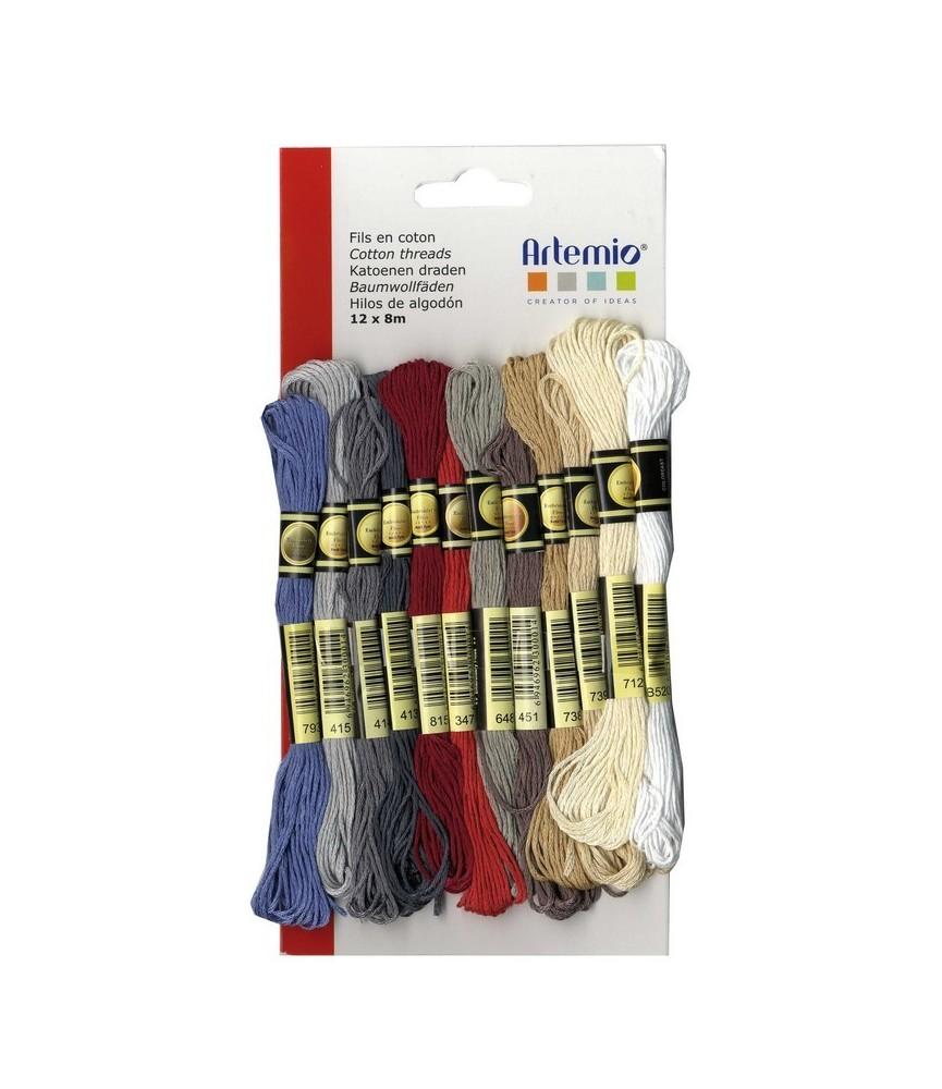 Pack 12 madejas de hilo de algodón colores neutros