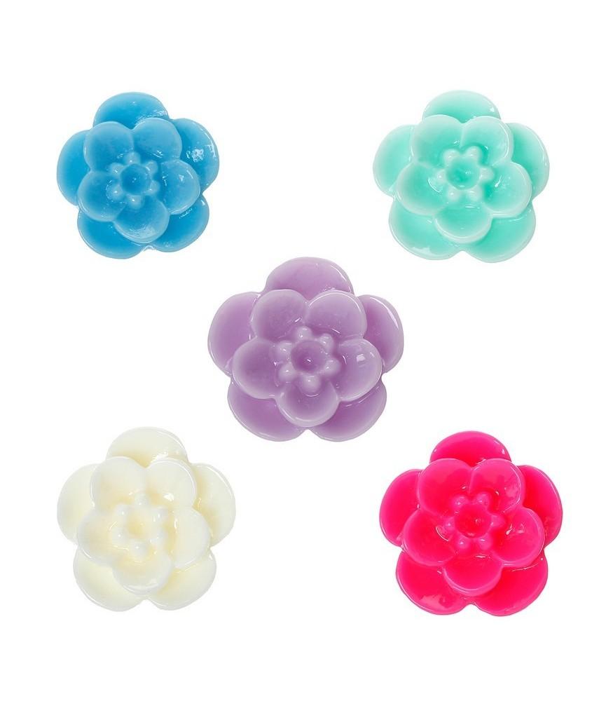 Pack 5 flores de resina 17 mm