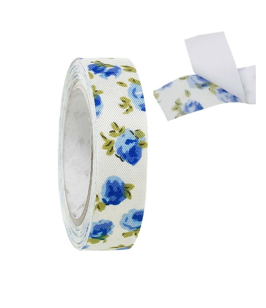 Rollo de Fabric tape flores azules