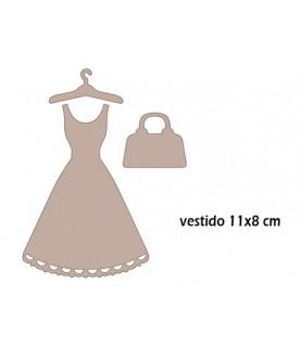 Set conjunto vestido, percha y bolso de carton