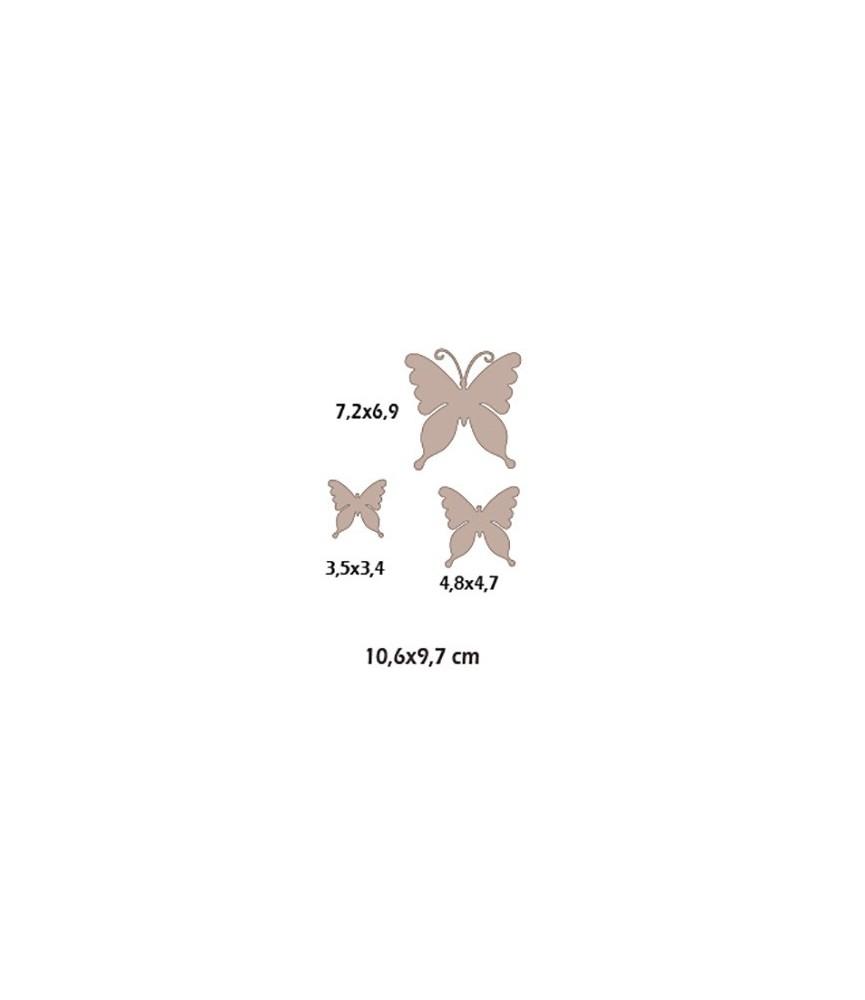Set de 3 mariposas con antenas de cartón
