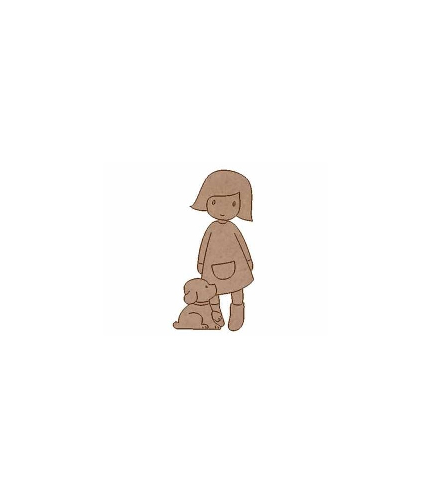 Silueta madera niña perrito